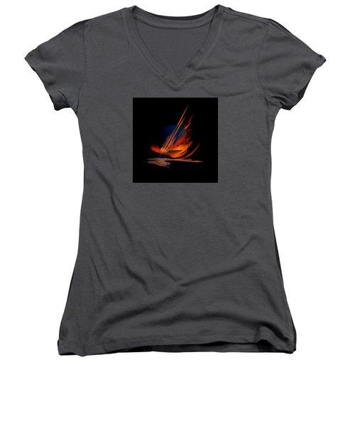 Women's V-Neck T-Shirt (Junior Cut) featuring the painting Penman Original-335 by Andrew Penman