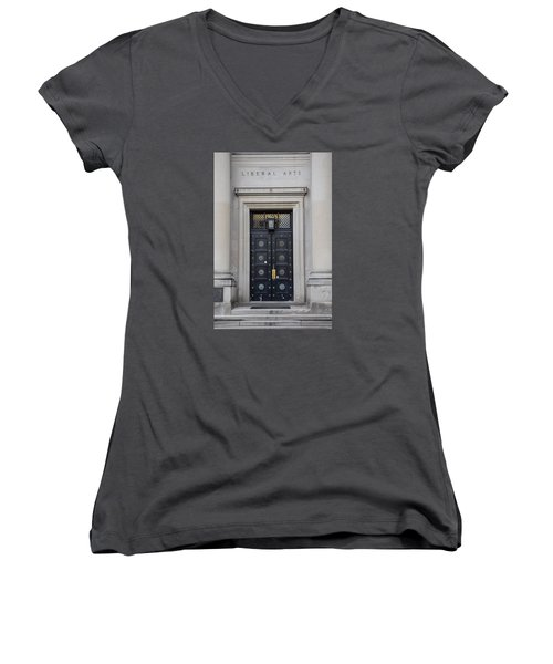 Penn State University Liberal Arts Door  Women's V-Neck T-Shirt