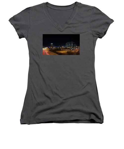 Penn's Landing Women's V-Neck T-Shirt (Junior Cut) by Leeon Pezok