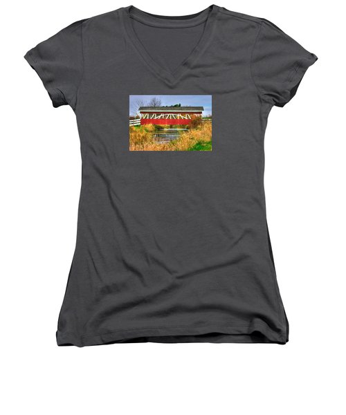 Pennsylvania Country Roads - Oregon Dairy Covered Bridge Over Shirks Run - Lancaster County Women's V-Neck T-Shirt (Junior Cut) by Michael Mazaika