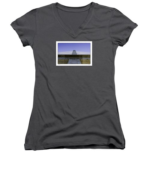 Women's V-Neck T-Shirt (Junior Cut) featuring the photograph Penobscot Bridge by R Thomas Berner