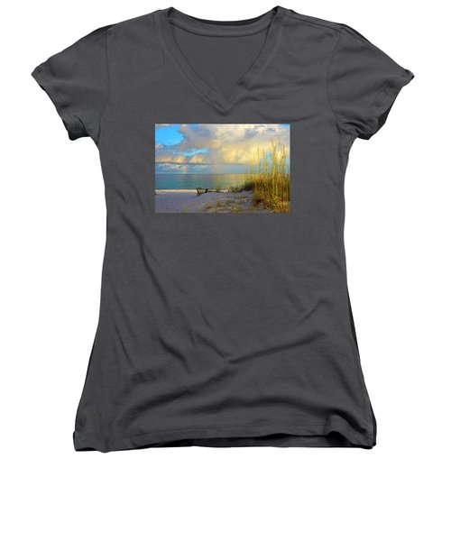 Pensacola Rainbow At Sunset Women's V-Neck T-Shirt (Junior Cut) by Marie Hicks