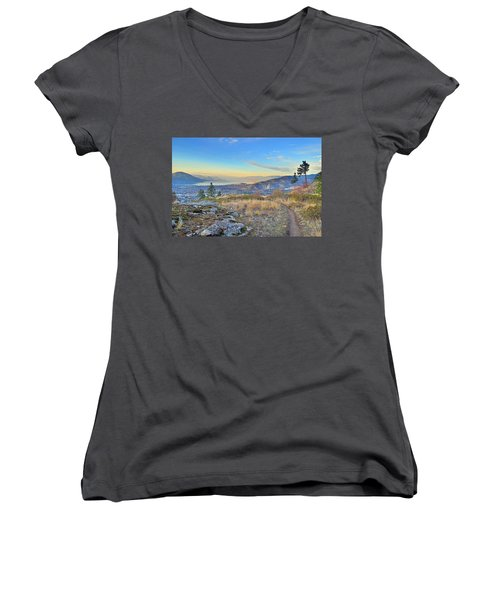 Women's V-Neck T-Shirt (Junior Cut) featuring the photograph Penticton In The Distance by Tara Turner