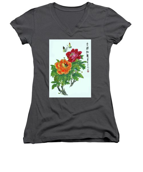 Peonies And Butterflies Women's V-Neck T-Shirt