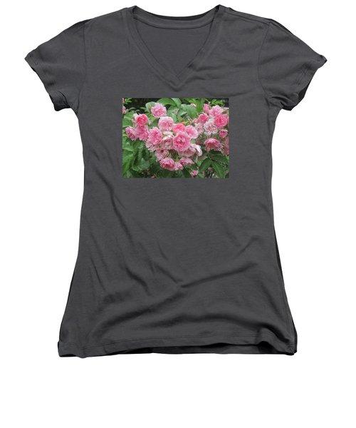 Peonies At Glen Magna Farms Women's V-Neck T-Shirt (Junior Cut) by Paul Meinerth