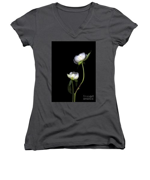 Peonies Women's V-Neck T-Shirt (Junior Cut) by Christian Slanec