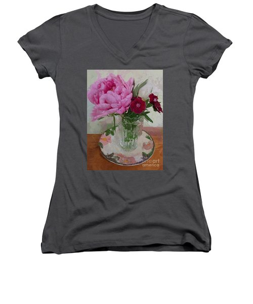 Peonies With Sweet Williams Women's V-Neck T-Shirt (Junior Cut) by Alexis Rotella
