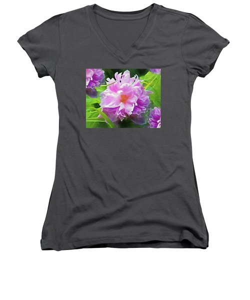 Women's V-Neck featuring the mixed media Peony Cluster 7 by Lynda Lehmann