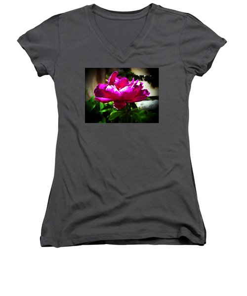 Peony Women's V-Neck T-Shirt (Junior Cut) by Joseph Frank Baraba