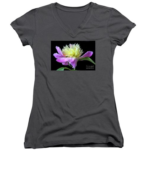 Peony On Black Women's V-Neck (Athletic Fit)