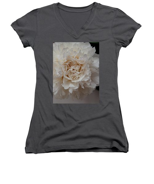 Women's V-Neck T-Shirt (Junior Cut) featuring the photograph Peony Petals by Nancy Kane Chapman