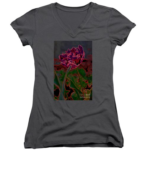 Peony Tulip Women's V-Neck (Athletic Fit)
