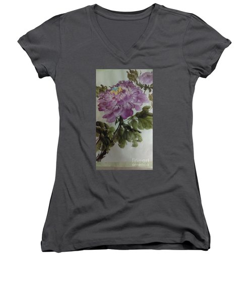 Women's V-Neck T-Shirt (Junior Cut) featuring the painting Peony20170126_1 by Dongling Sun