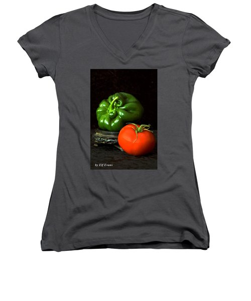 Women's V-Neck T-Shirt featuring the photograph Pepper And Tomato by Elf Evans