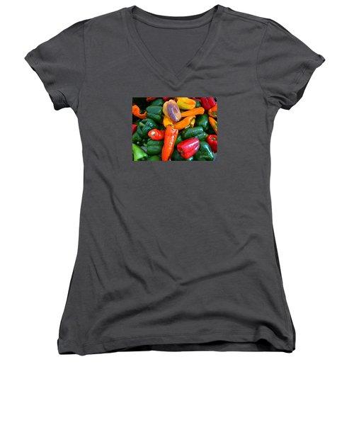 Pepper Medley 2 Women's V-Neck T-Shirt (Junior Cut) by Dee Flouton