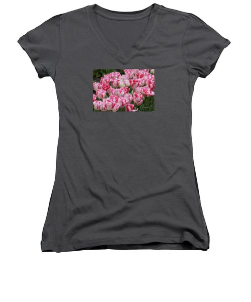 Peppermint Tulip Field IIi Women's V-Neck (Athletic Fit)