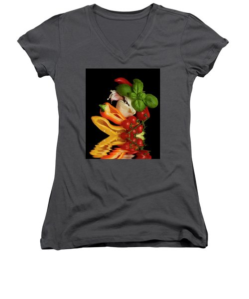 Women's V-Neck T-Shirt (Junior Cut) featuring the photograph Peppers Basil Tomatoes Garlic by David French