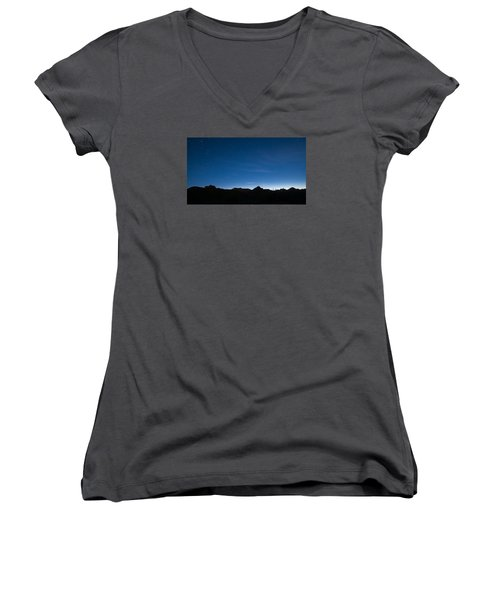 Women's V-Neck T-Shirt (Junior Cut) featuring the photograph Peralta Trail At Sunrise by Monte Stevens