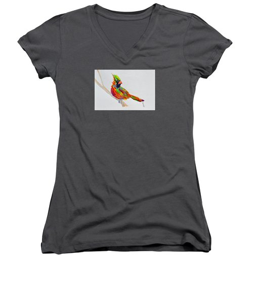 Perch With Pride Women's V-Neck T-Shirt (Junior Cut) by Beverley Harper Tinsley