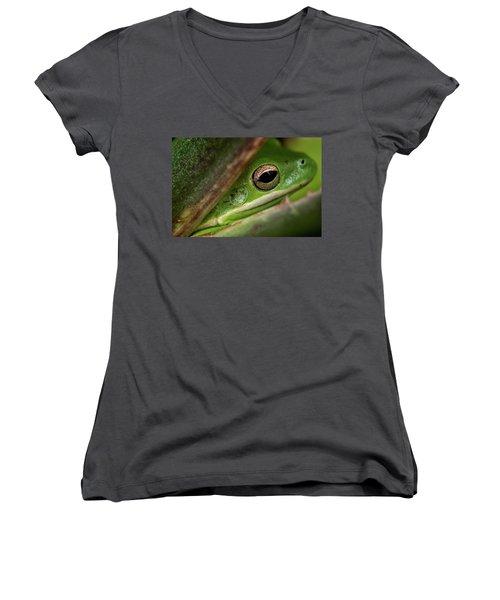 Frogy Eye Women's V-Neck T-Shirt (Junior Cut) by Denis Lemay