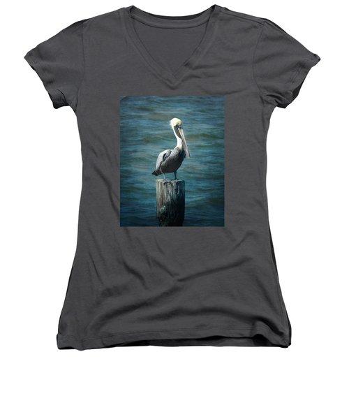 Perched Pelican Women's V-Neck T-Shirt (Junior Cut) by Carla Parris