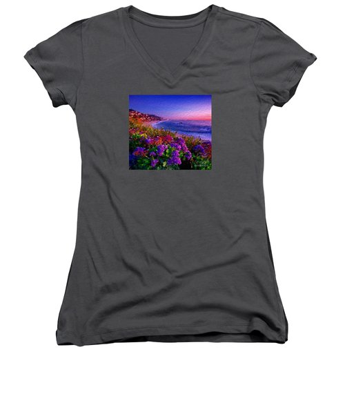 Women's V-Neck T-Shirt (Junior Cut) featuring the digital art Perfect Sunset by Anthony Fishburne