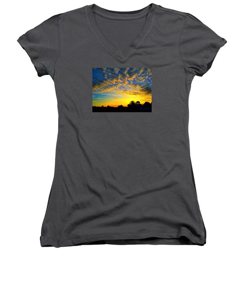 Perfect Sunset Women's V-Neck T-Shirt (Junior Cut) by Mark Blauhoefer