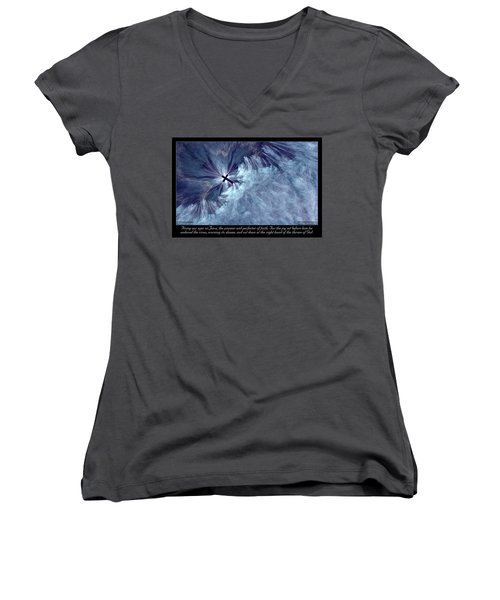 Women's V-Neck featuring the digital art Perfecter Of Faith by Missy Gainer