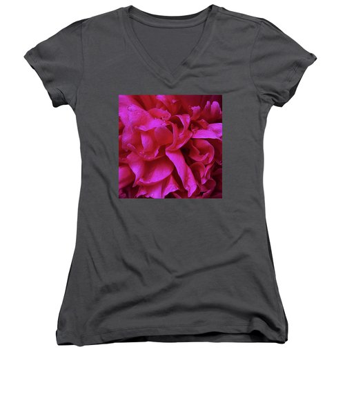 Perfectly Pink Peony Petals Women's V-Neck (Athletic Fit)