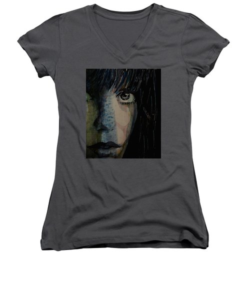 Women's V-Neck T-Shirt (Junior Cut) featuring the painting Periode Bleue by Paul Lovering