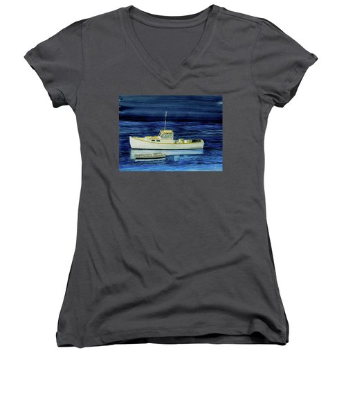 Perkins Cove Lobster Boat And Skiff Women's V-Neck (Athletic Fit)