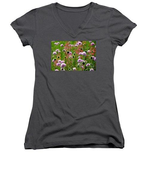 Perky Chives Women's V-Neck T-Shirt (Junior Cut) by Betsy Zimmerli