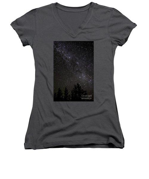 Perseid Meteor And Milky Way Women's V-Neck
