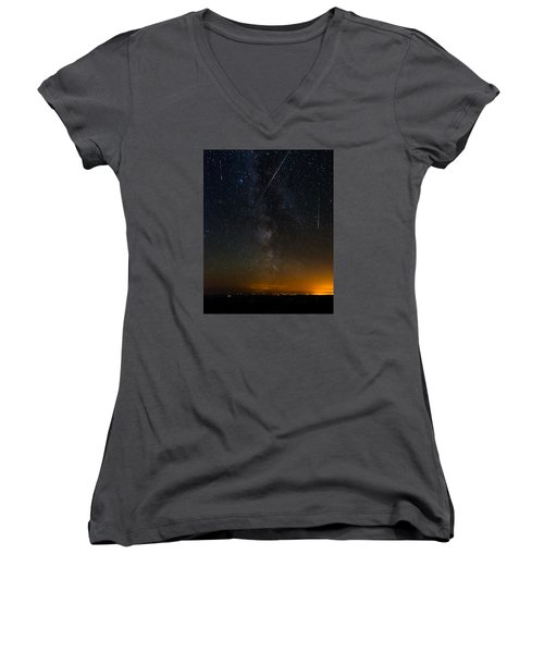Perseids Meteor Shower Women's V-Neck (Athletic Fit)