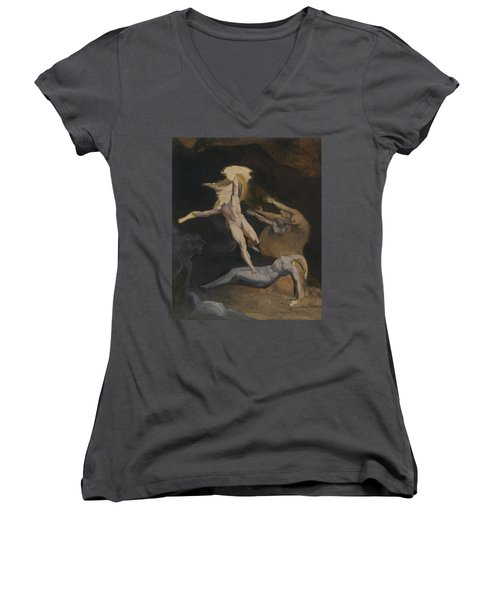 Perseus Slaying The Medusa Women's V-Neck T-Shirt (Junior Cut) by Henry Fuseli