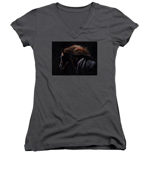 Peruvian Paso Horse Women's V-Neck T-Shirt (Junior Cut) by David Stribbling