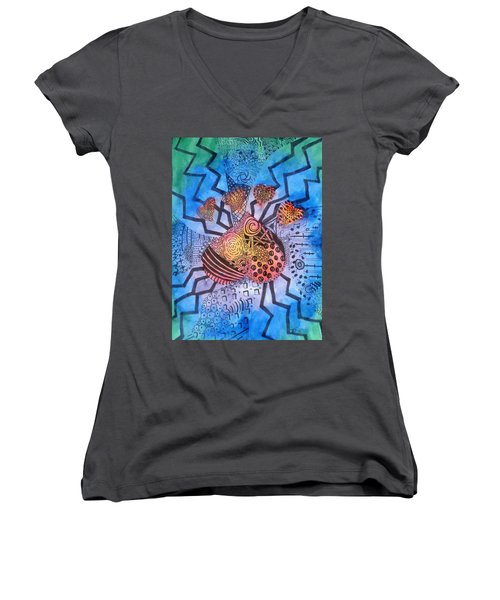 Women's V-Neck T-Shirt featuring the painting Pet Love by Thomasina Durkay