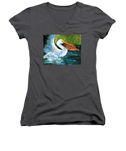 Women's V-Neck T-Shirt (Junior Cut) featuring the painting Pete Coming In For A Landing by Suzanne McKee