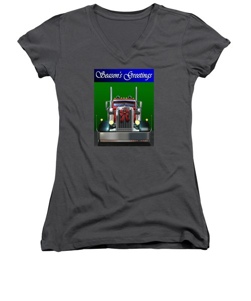 Women's V-Neck T-Shirt (Junior Cut) featuring the digital art Pete Season's Greetings by Stuart Swartz