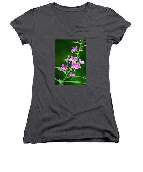 Petites Fleurs Violettes Women's V-Neck T-Shirt