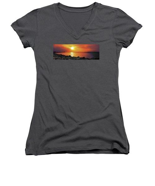 Petoskey Sunset Women's V-Neck T-Shirt