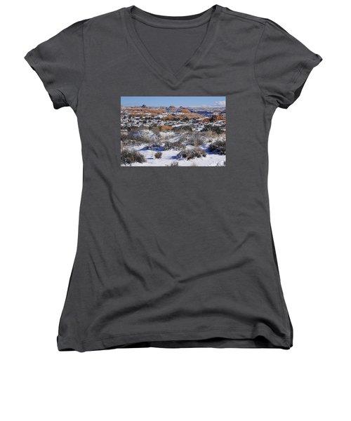 Petrified Dunes At Arches National Park Women's V-Neck T-Shirt
