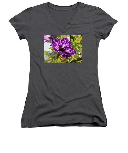 petunia nightsky,Helloween colors  Women's V-Neck T-Shirt (Junior Cut) by Tamara Sushko