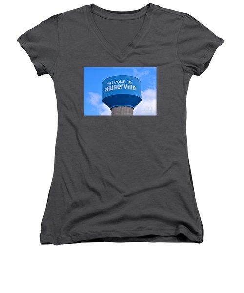 Pflugerville Texas - Water Tower Women's V-Neck T-Shirt (Junior Cut) by Ray Shrewsberry