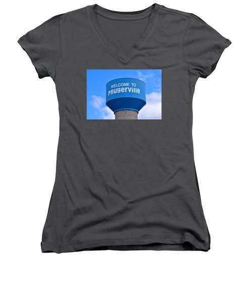Pflugerville Texas - Water Tower Women's V-Neck (Athletic Fit)