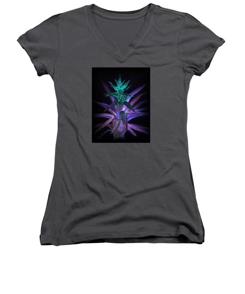 Phantom Bromeliad Women's V-Neck (Athletic Fit)