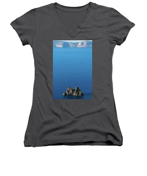 Phantom Ship Island Crater Lake National Park Oregon 2 Women's V-Neck (Athletic Fit)