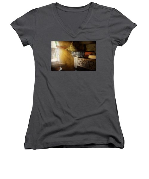 Women's V-Neck T-Shirt (Junior Cut) featuring the photograph Pharmacy - The Apothecarian by Mike Savad