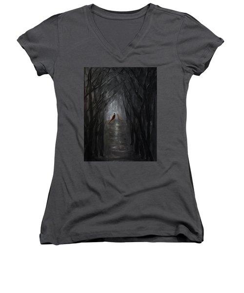 Pheasants In The Garden Women's V-Neck T-Shirt (Junior Cut) by Tone Aanderaa
