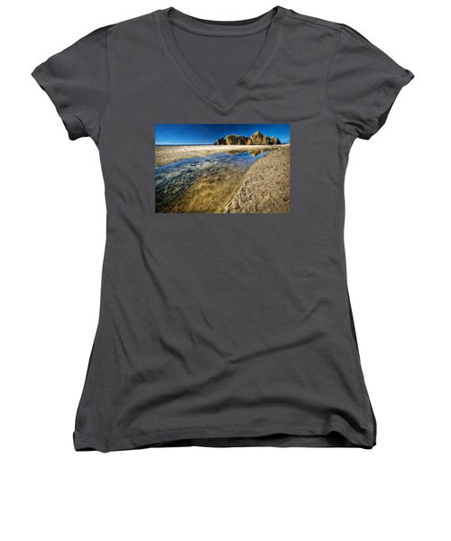 Women's V-Neck T-Shirt (Junior Cut) featuring the photograph Pheiffer Beach- Keyhole Rock #19 - Big Sur, Ca by Jennifer Rondinelli Reilly - Fine Art Photography